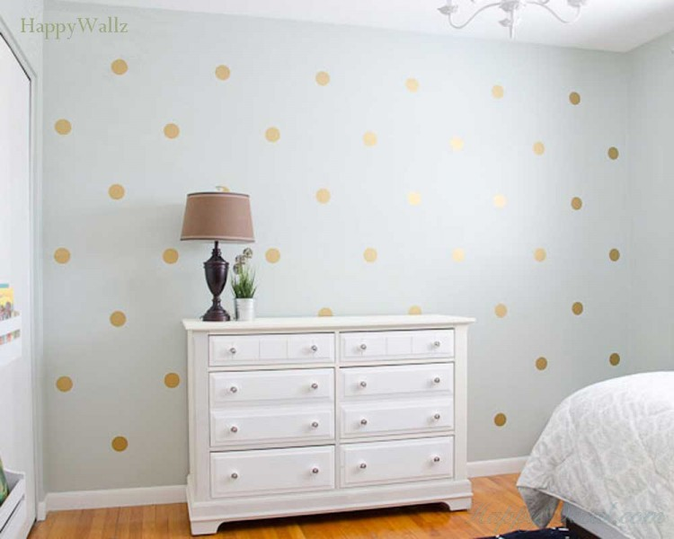 Charming Gold Polka Dots Wall Decal