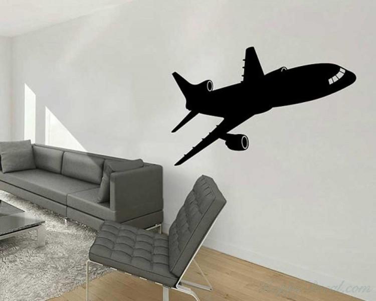 Airplane Vinyl Decals Silhouette Modern Wall Art Sticker