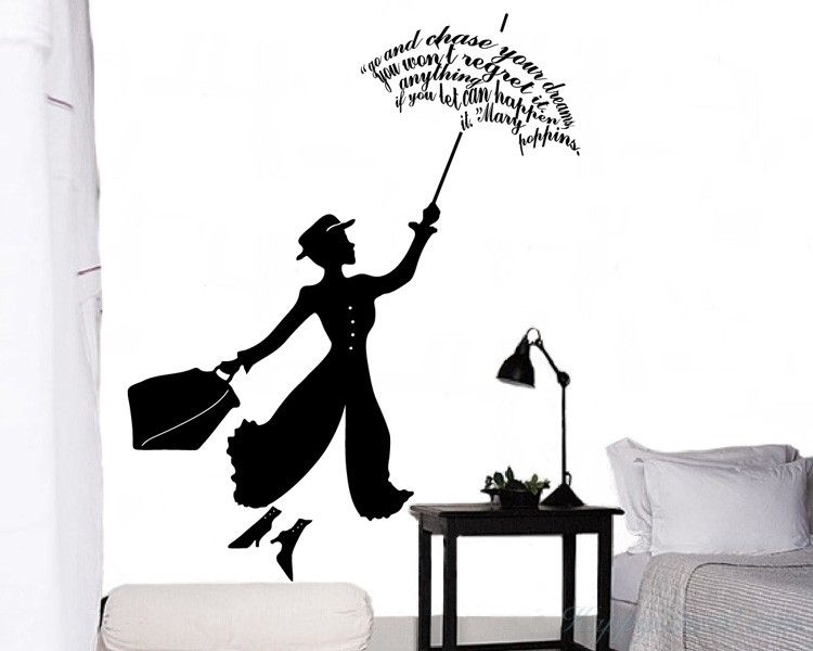 Mary Poppins Vinyl Decals Silhouette Wall Art Sticker