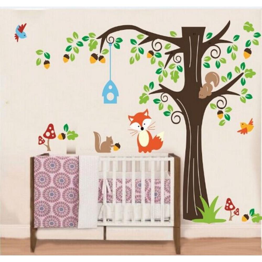 Tree Walll Sticker For Nursery Squirrel Fox Mushroom Wall Decal
