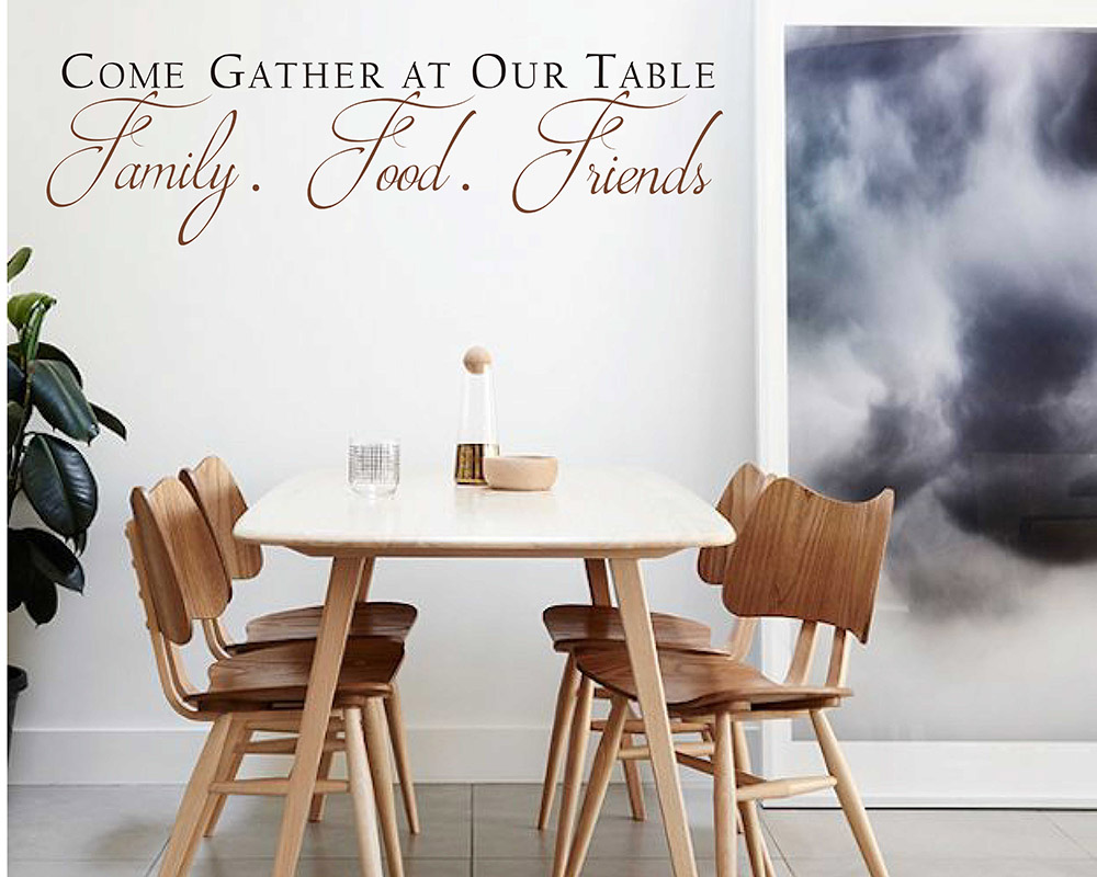 Come Gather at our Table Decal with Scroll design - Dining Room Wall Art -  Kitchen Quote Wall Sticker - Dining Room Decor