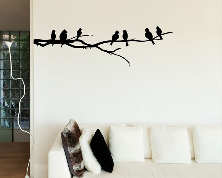 & Branch Wall Decal with Birds Vinyl Tree Art Stickers