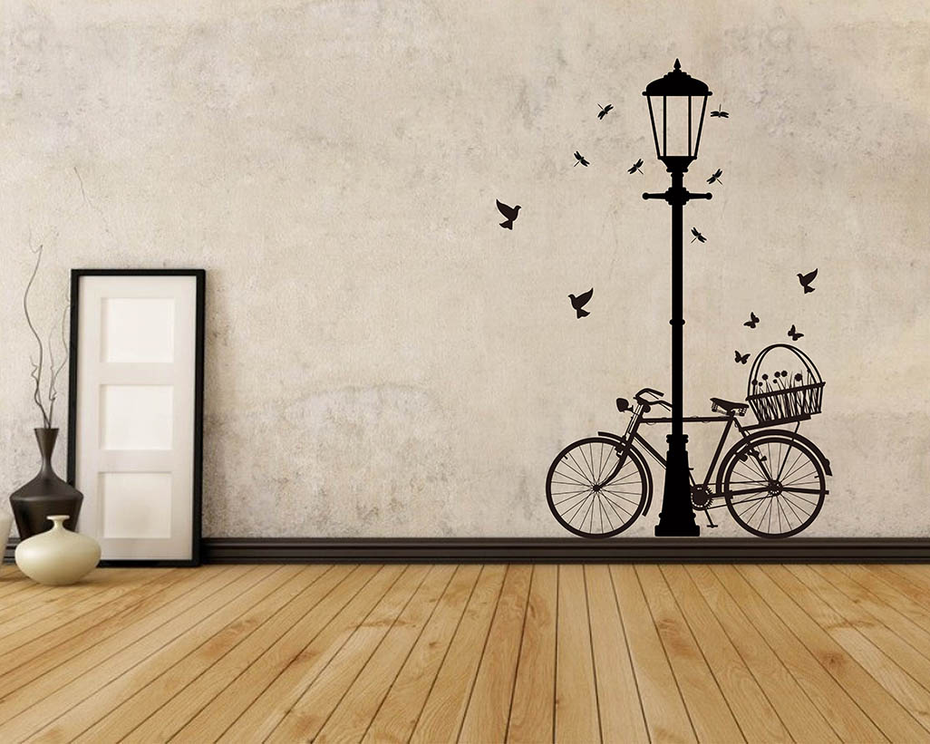 Street lamp bicycle vinyl decals modern wall art sticker for Kitchen colors with white cabinets with tandem bike wall art