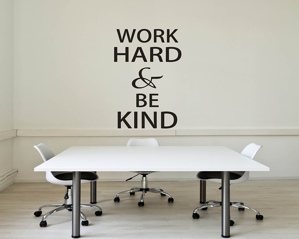 Work Hard Amp Be Kind Quotes Wall Decal Motivational Vinyl